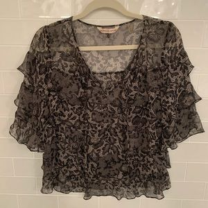 Rebecca Taylor sheer ruffled tie blouse lace print